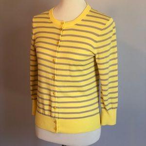 J Crew- yellow striped cardigan